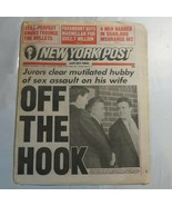 New York Post November 11 1993 John Bobbitt Case Paramount Macmillan N2 - $39.99