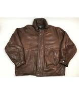 NAUTICA Leather Coat Jacket Hidden Hood 42 Buttery Super Soft Quilt Line... - $44.50