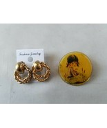 Vintage Fashion Jewelry Round Pin Brooch With Little Girl Matching Hoop ... - $29.01
