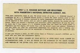 J C Higgins Bicycles Registered Pinkerton's National Detective Agency Ca... - $17.82