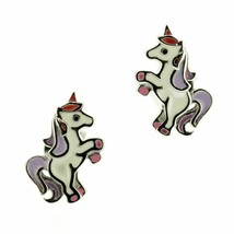 Children's Scottish Sterling Silver Unicorn Stud Earrings with enamel - $41.65