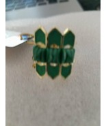 NWT House of Harlow Gold-tone Metal & green Inserts Ring, Size 7 - $22.75