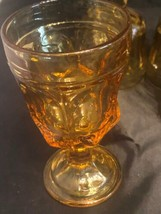 "Lot of 6 Fostoria Jamestown Amber Juice Stemmed Glasses 5"" Tall - $28.54"