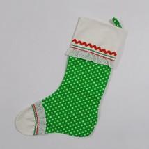 Vintage Handmade Christmas Stocking Country Style Polka Dots 70s - $19.79