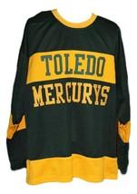 Custom Name # Toledo Mercurys Retro Hockey Jersey New Black Any Size image 3