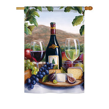 """Red & White Wine - 28"""" x 40"""" Impressions House Flag - H117025 - $36.87"""