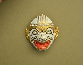 Vintage rhinestone & enamel Hanuman mask brooch white red Thai warrior T... - $32.66