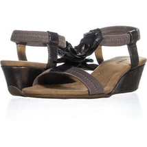 A35 Valensia Floral Wedge Slip On Sandals 933, Pewter, 5.5 US - $28.79
