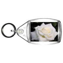 white rose  keyring  handmade in uk from uk made parts, keyring, keyfob