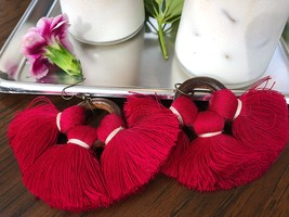 Long dangle earrings made from red tassels and wood circle, wedding jewelry - $16.00