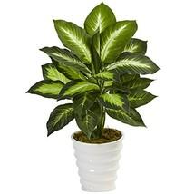 Nearly Natural 6973 22in. Dieffenbachia Artificial Swirl Planter Silk Pl... - $46.17