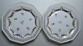 "2 Vintage Schumann Bavaria Reticulated 7"" Porcelain Plate Floral Deco Ge... - $60.00"
