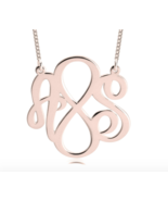 INITIALS INFINITY NECKLACE SET FOR COUPLES: STERLING SILVER, 24K GOLD, R... - $113.99