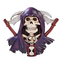 Grim Reaper Skull Figurine Wall Plaque Made of Polyresin - $22.28