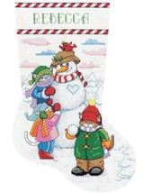 Design Works Snowman with Cats Snow Christmas Cross Stitch Stocking Kit 6851 - $29.95