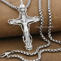 LINSION 925 Sterling Silver Jesus Crucifix Cross Sword Skull Pendant Nec... - $75.99+