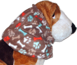 Dog Snood Brown Paw Prints Doggie Bones Fleece Handmade Size Large - $12.50