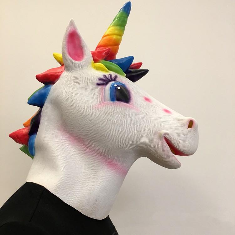Unicorn Mask Helmet Halloween Cosplay Season Natural Platex Rainbow Version image 5