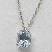 Collar de Oro Blanco 750 18K, Aguamarina Ovalados, Quilates 1.13 , Caden... - $502.83