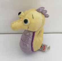 ganz lil kinz  small stuffed animal plush seahorse yellow purple big eyes - $11.88