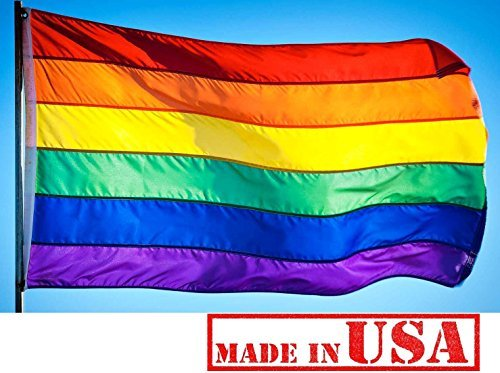 US Flag Factory - 4x6 FT Rainbow Flag Individually Sewn Stripes Outdoor SolarMax