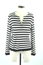 Talbots Silk Blend Beaded Striped Pullover Sweater Size Medium Black Top Career - $21.09