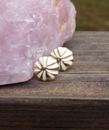 Vintage Cream Enamel and Gold Pinwheel Button Post Earrings - $5.00