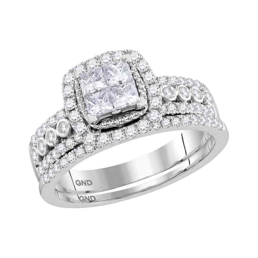 14kt White Gold Princess Diamond Halo Bridal Wedding Engagement Ring Band Set - £1,044.83 GBP