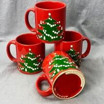 Lot Of 4 Waechtersbach Albero di Natale Rosso Tazze da Caffè Tè Realizza... - $23.00