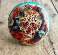 """4 Handmade Sugar Skull and Flower Knob Drawer Pulls, 1.5"""" Day of the Dead Knobs - $22.77"""