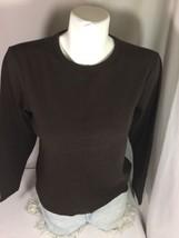Style &CO Women Brown Petite  Long Sleeve Shirt Bin Large  Bin63#25 - $14.01
