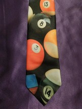 Vintage 1991 Ralph Marlin Random Billiard Pool Balls Neck Tie image 1