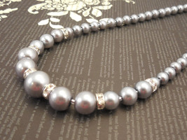 One Strand Embossing Look, Gray Glass Pearl Necklace with Sparkle Spacers - $33.00