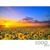 MY BIBY Wooden Jigsaw Puzzles 1000 Pieces for Adults, Wood Sunflower Sce... - $33.05