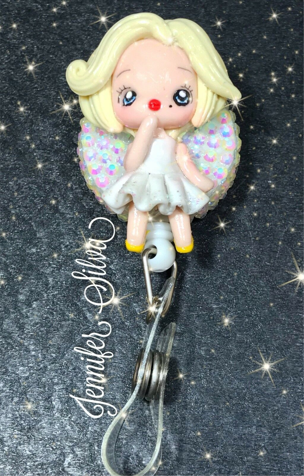Marilyn Monroe Clay Rhinestone Retractable Badge Reel