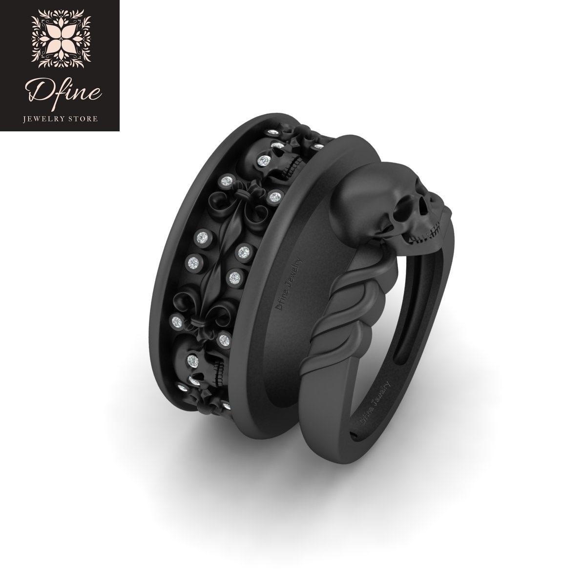 Red Garnet Fleur De Lis Skull Spooky 2Pc Couple Wedding Band Ring Set 925 Silver