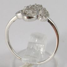 Ring White Gold 750 18K, Double Heart with Zirconia, Made in Italy image 2