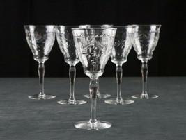 Elegant Cut Goblets 6pc Set, Polish Cut Floral Leaves & Dots Optic, Wine... - $41.46