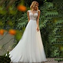 Sweetheart Princess O-Neck Appliqued with Lace top Tulle Skirt Beach Boho Custom