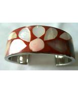 Vintage Inlaid Mother of Pearl MOP enamel cuff bracelet size 6.25 - $14.84