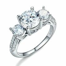 925 Sterling Silver 3-Stone Wedding Ring 2 Carat Created Diamond Jewelry... - $69.02