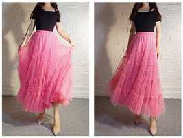 Hot Pink Tiered Tulle Skirt Plus Size Floral Hot Pink Floor Length Tulle Skirt  image 3