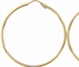 18K YELLOW GOLD ROUND CIRCLE EARRINGS DIAMETER 30 MM WIDTH 1.7 MM, MADE IN ITALY image 1