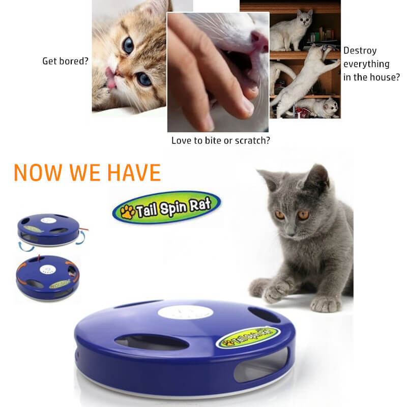 Tail Spin Rat, Electric Toy for Cat or Kitten, Interactive Battery Operated Toy image 2