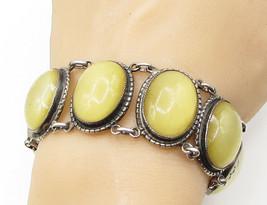 DANECRAFT 925 Silver - Vintage Cloudy Baltic Amber Linked Tennis Bracelet B1198 - $279.52