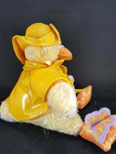 """Yellow Chick Duck Raincoat Plush White Flower Butterfly Stuffed Easter 8"""" Soft"""