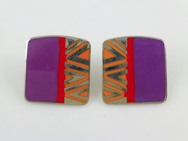 "LAUREL BURCH ""Naito"" Tribal design Enamel Silver-Tone Post EARRINGS - FR... - $25.00"