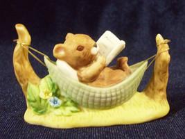 ENESCO MOUSE in Hammock Reading Book Bisque Porcelain Figurine 1976 Vintage - $14.84