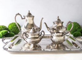 Vintage Silver Plate Tea Set With Tray Coffee S... - $199.00