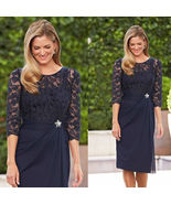 Newly Navy Blue Half Sleeve Lace Mother Of the Bride Dresses Scoop Mothe... - $110.00
